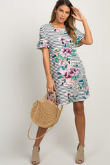 Ivory Striped Floral Ruffle Sleeve Maternity Shift Dress
