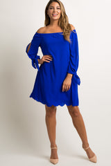 Royal Blue Off Shoulder Slit Sleeve Tie Maternity Dress
