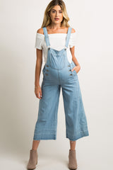 Light Blue Chambray Pocket Front Maternity Overalls
