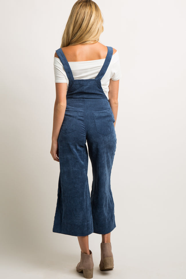 Blue Corduroy Pocket Front Maternity Overalls