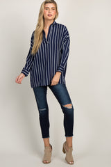 Navy Striped Collared Dolman Sleeve Top