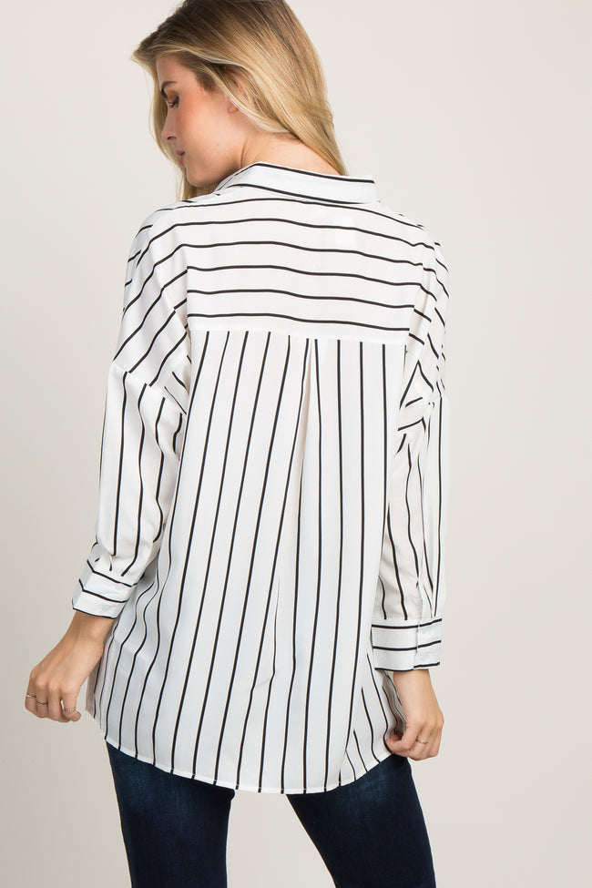 Black Striped Collared Dolman Sleeve Top
