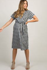 Black Plaid Sash Tie Maternity Wrap Dress