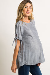 Faded Black Pinstriped Tie Accent Maternity Top