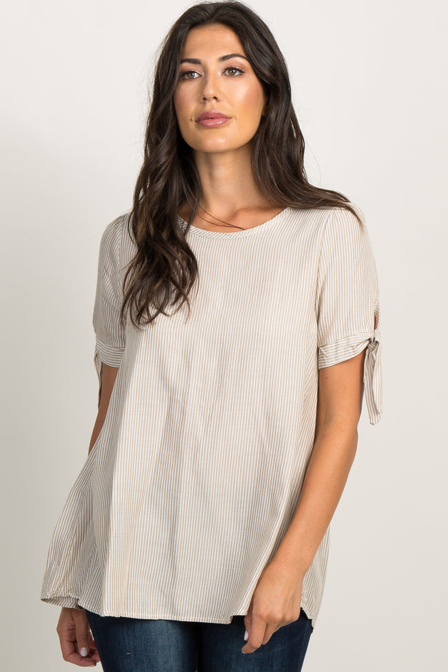 Taupe Pinstriped Tie Accent Maternity Top