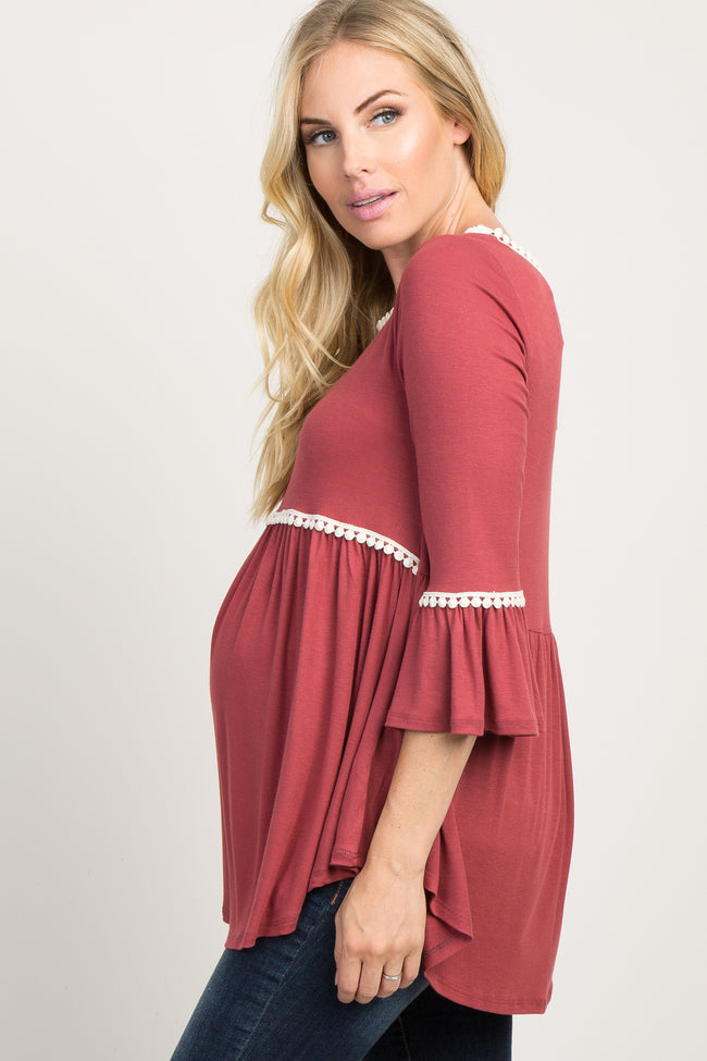 Rust Crochet Accent Bell Sleeve Maternity Babydoll Top