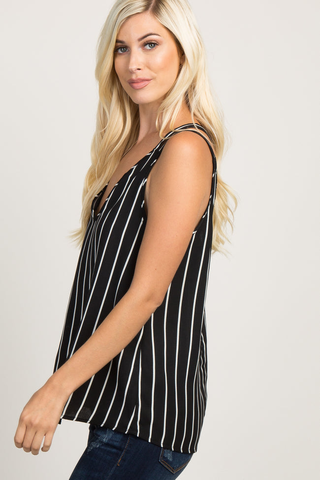 Black Striped Double Strap Crisscross Back Tank Top