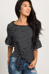 Black Striped Tie Front Ruffle Sleeve Top