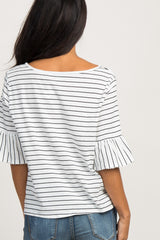 White Striped Tie Front Ruffle Sleeve Top