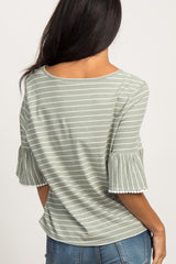 Olive Striped Tie Front Ruffle Sleeve Top
