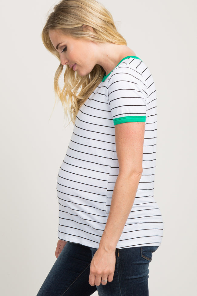 Green Striped Colorblock Short Sleeve Maternity Top