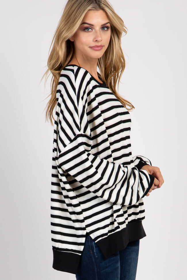 Black Striped Long Sleeve Sweatshirt