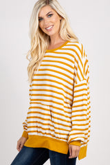 Yellow Striped Long Sleeve Sweatshirt