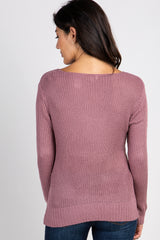 Mauve Knit Twist Front Sweater