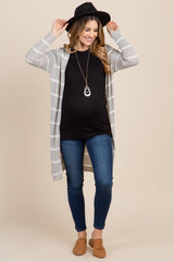 Grey Striped Knit Long Maternity Cardigan