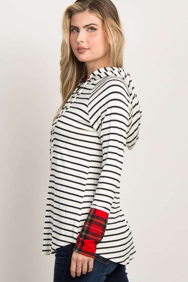 Ivory Striped Hooded Plaid Accent Top