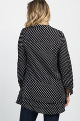 Black Polka Dot Layered Button Down Maternity Tunic
