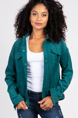 Emerald Green Corduroy Button Front Maternity Jacket