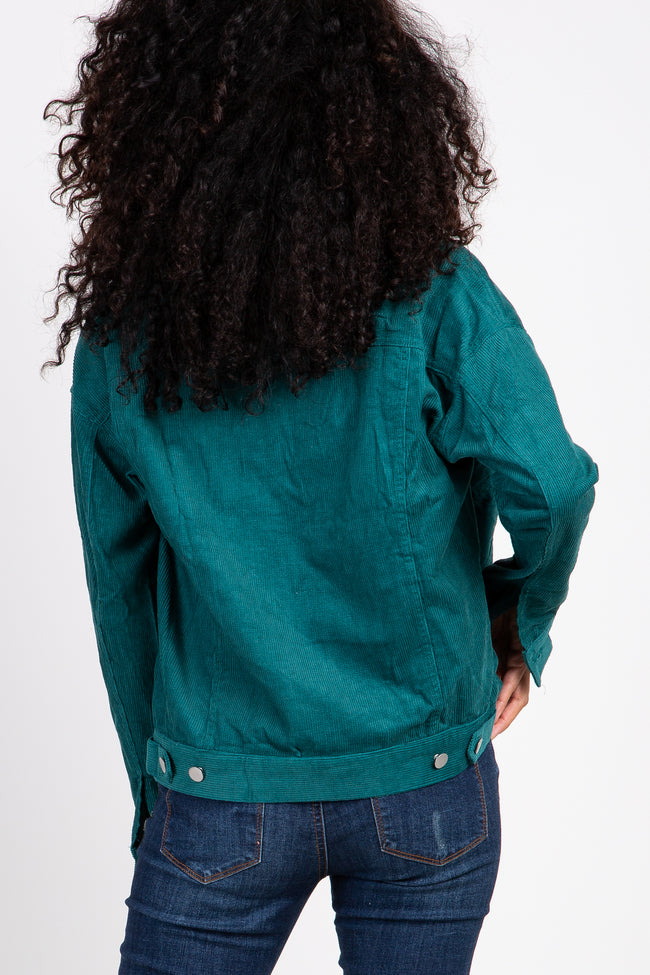 Emerald Green Corduroy Button Front Jacket
