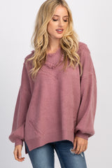 Mauve Frayed Knit V-Neck Maternity Sweater