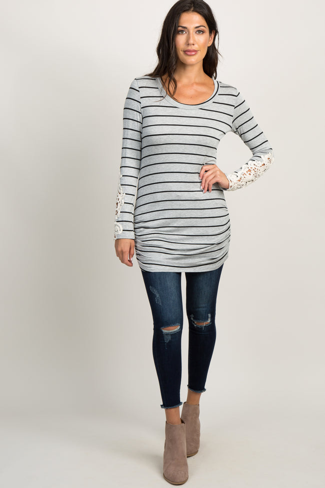 Grey Black Striped Crochet Sleeve Tunic