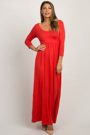 Rust 3/4 Sleeve Maxi Dress