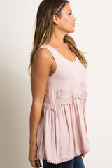 Light Pink Crochet Accent Peplum Tank Top