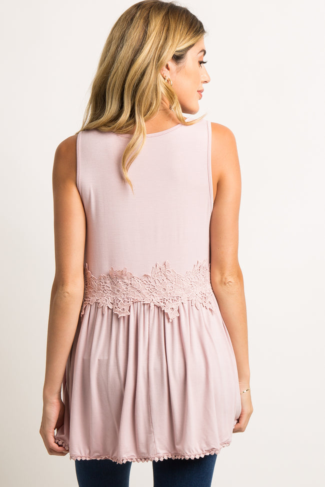 Light Pink Crochet Accent Peplum Maternity Tank Top