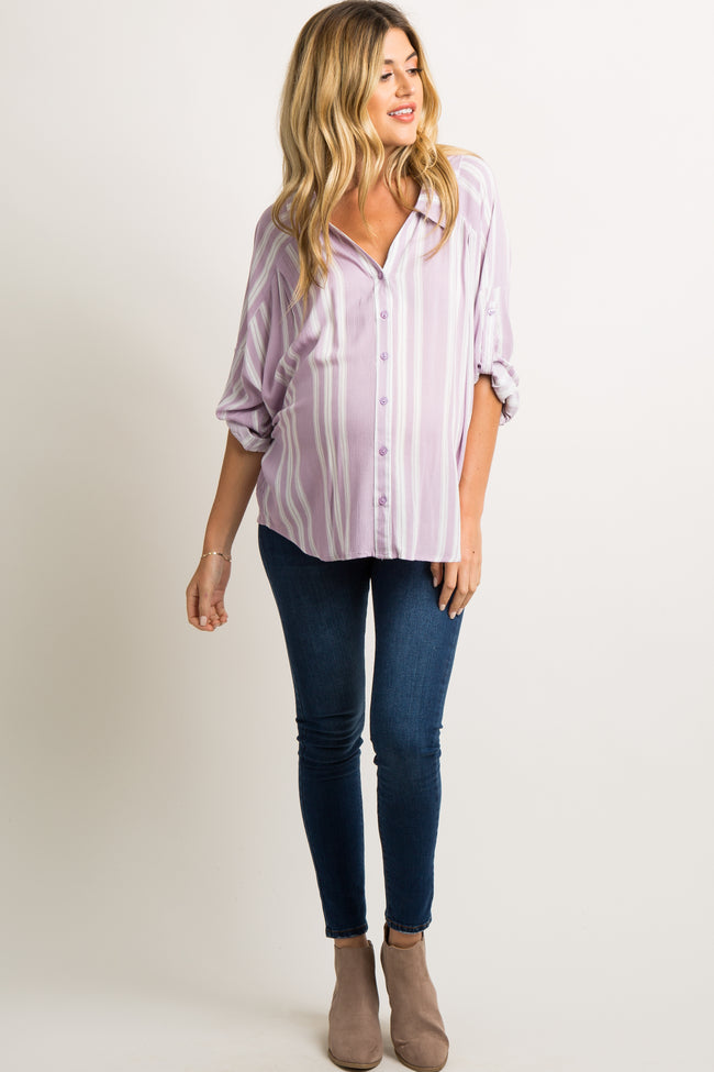 Lavender Striped Button Down Maternity Top