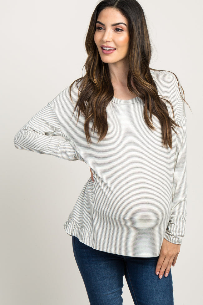 Ivory Pinstripe Long Sleeve Hi- Low Top