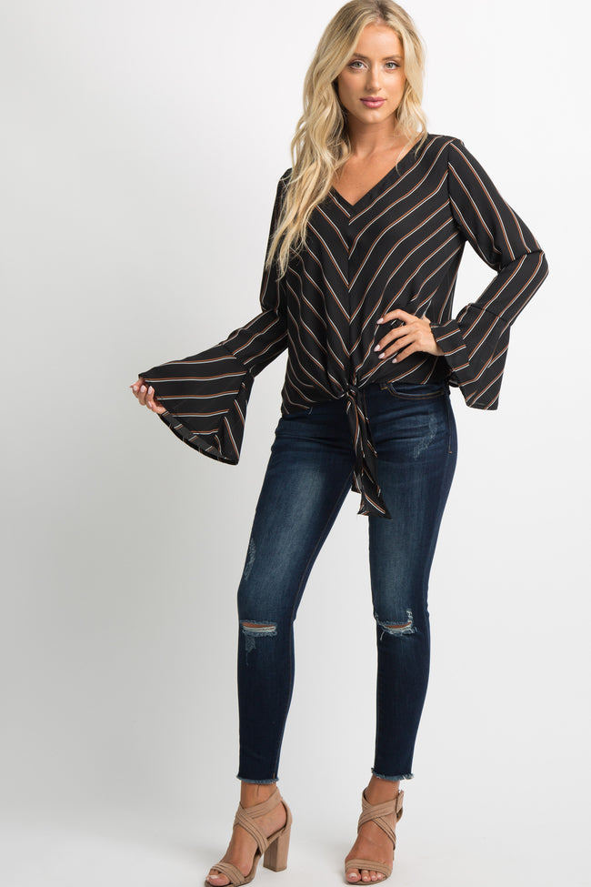 Black Chiffon Striped Bell Sleeve Tie Knot Top