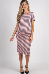 Mauve Striped Fitted Maternity Midi Dress