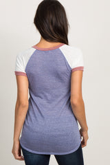 Blue Knit Color Block Short Sleeve Raglan Top