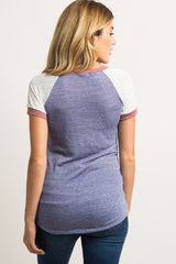 Blue Knit Color Block Short Sleeve Raglan Maternity Top