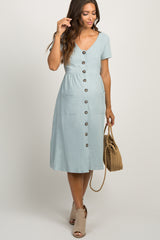 Light Blue Button Front Maternity Midi Dress