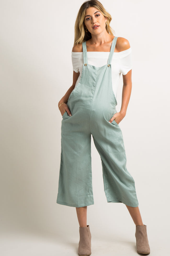 Mint Green Linen Button Front Maternity Overalls