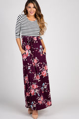 Plum Colorblock Striped Floral Maternity Maxi Dress