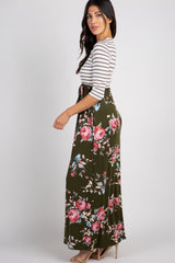 Olive Colorblock Striped Floral Maxi Dress