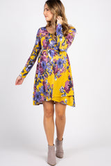 Yellow Floral Crisscross Back Maternity Dress