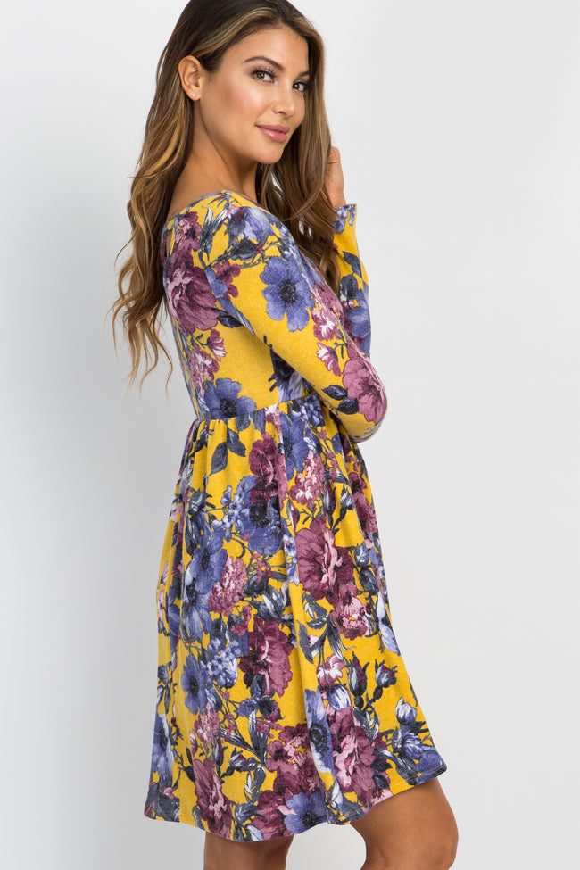 Yellow Floral Crisscross Back Dress
