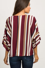 Burgundy Striped Knotted Hem Dolman Sleeve Maternity Top