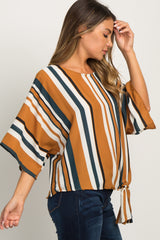 Marigold Striped Knotted Hem Dolman Sleeve Maternity Top