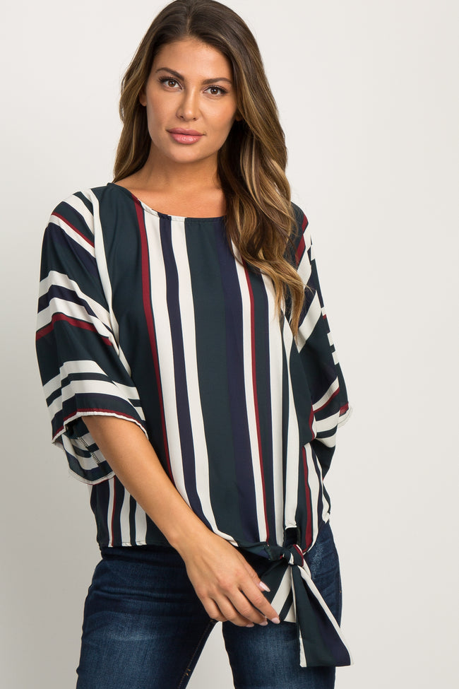 Forest Green Striped Knotted Hem Dolman Sleeve Maternity Top