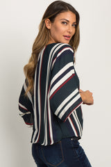Forest Green Striped Knotted Hem Dolman Sleeve Top