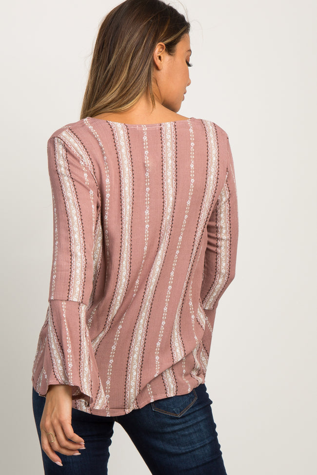 Mauve Floral Striped Bell Sleeve Knotted Hem Top