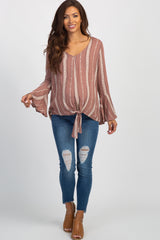 Mauve Floral Striped Bell Sleeve Knotted Hem Maternity Top