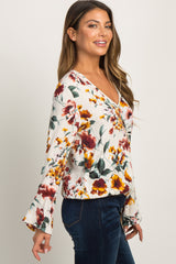 Cream Floral Print Wrap Tie Blouse