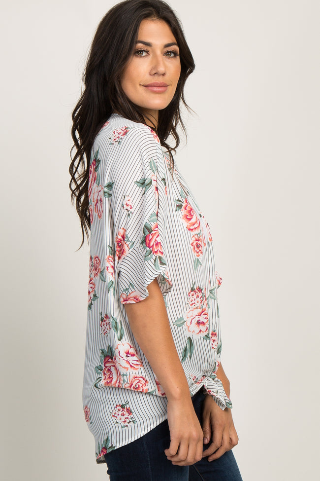 Black Striped Floral Ruffle Sleeve Cover Up