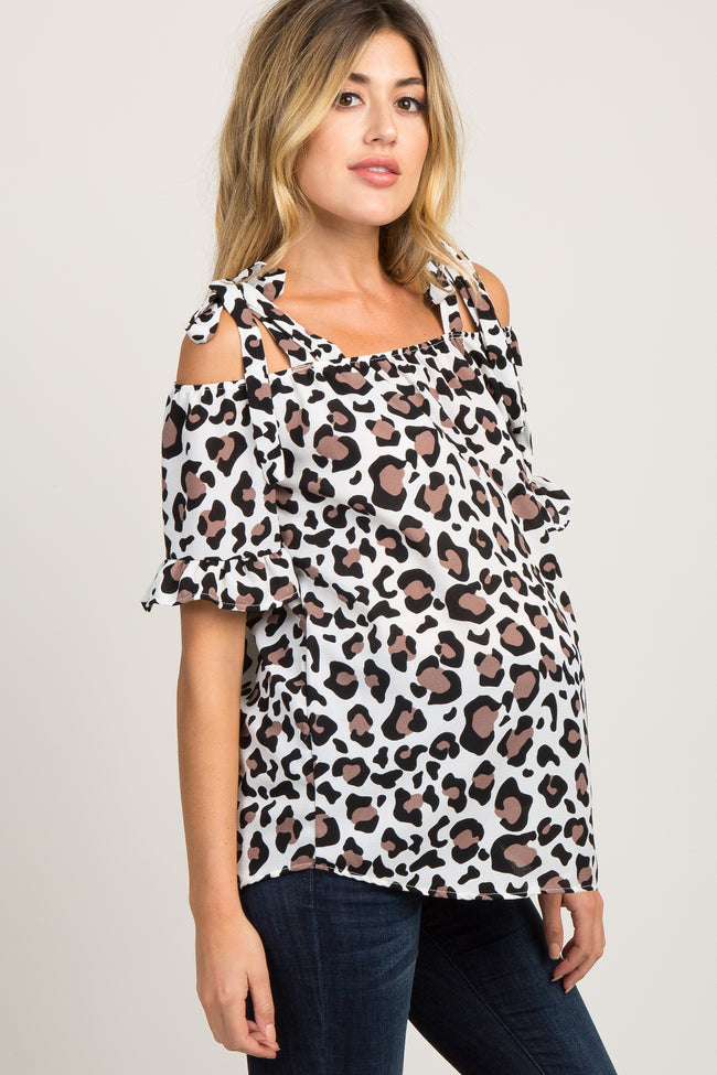 Leopard Ruffle Cold Shoulder Maternity Top