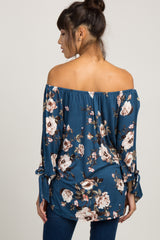 Blue Floral Off Shoulder Button Maternity Top